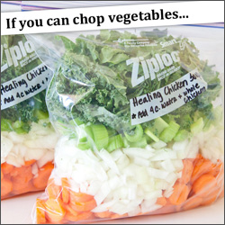 If you can chop vegetables, you can make these healthy, slow cooker freezer meals