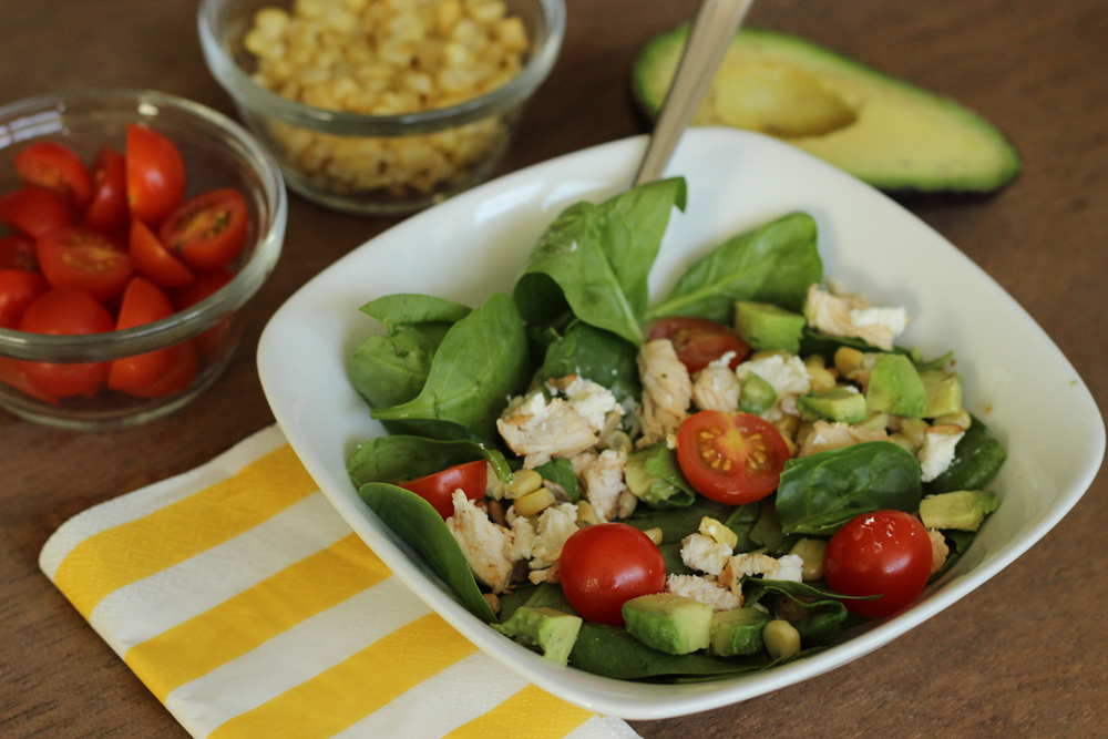 Spinach Salad with Chicken, Avocado and Goat Cheese Main Dishes Gluten ...