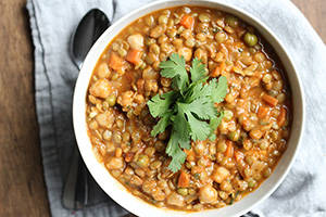 Lentil and Chickpea Curry with Coconut Milk