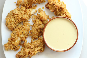 Oven-Fried Frito Chicken Fingers with Honey-Mustard Dip