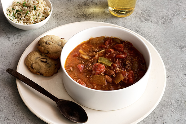 Hearty Beef Chili with Seasoned Rice