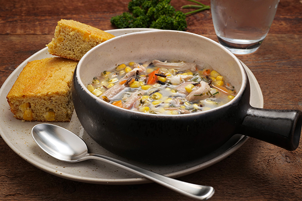 Turkey and Wild Rice Soup Meal with Cornbread