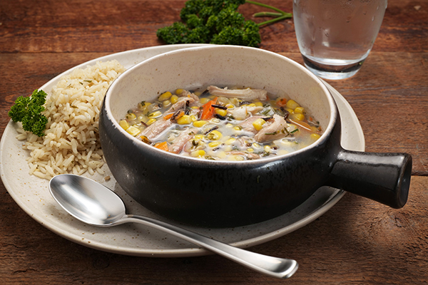 Turkey and Wild Rice Soup Meal with Seasoned Rice