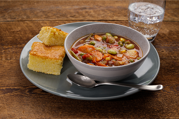 Very Vegetable, Vegetable Soup Meal with Cornbread